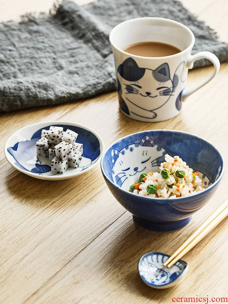 Japanese tableware ceramic bowl express the cat design small bowl of Japanese imports of household mark cup small dishes to eat bread and butter