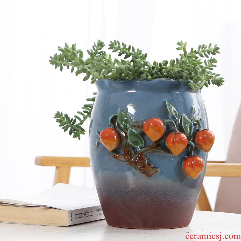 Fleshy flowerpot violet arenaceous creative high running with large old scene hand knead coarse pottery breathable mage, dried flowers all over the sky star vase