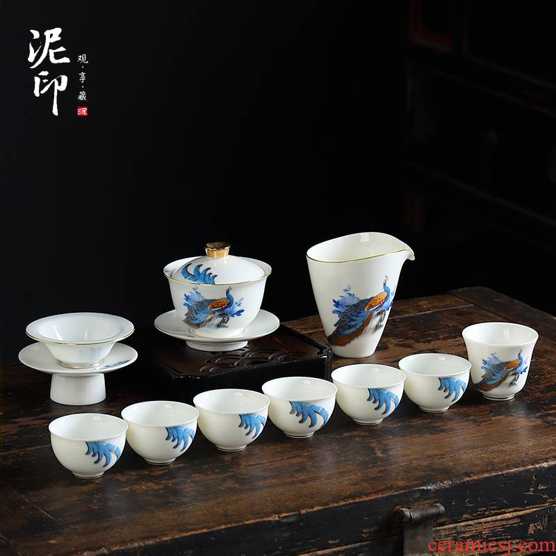 Kung fu tea set mud seal home office to receive a visitor hand - made ling delight in white porcelain cups a complete set of gift boxes