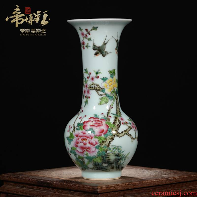 Jingdezhen ceramics vase pastel antique hand - made green glaze peony, black mushroom bottle collection of Chinese style household furnishing articles