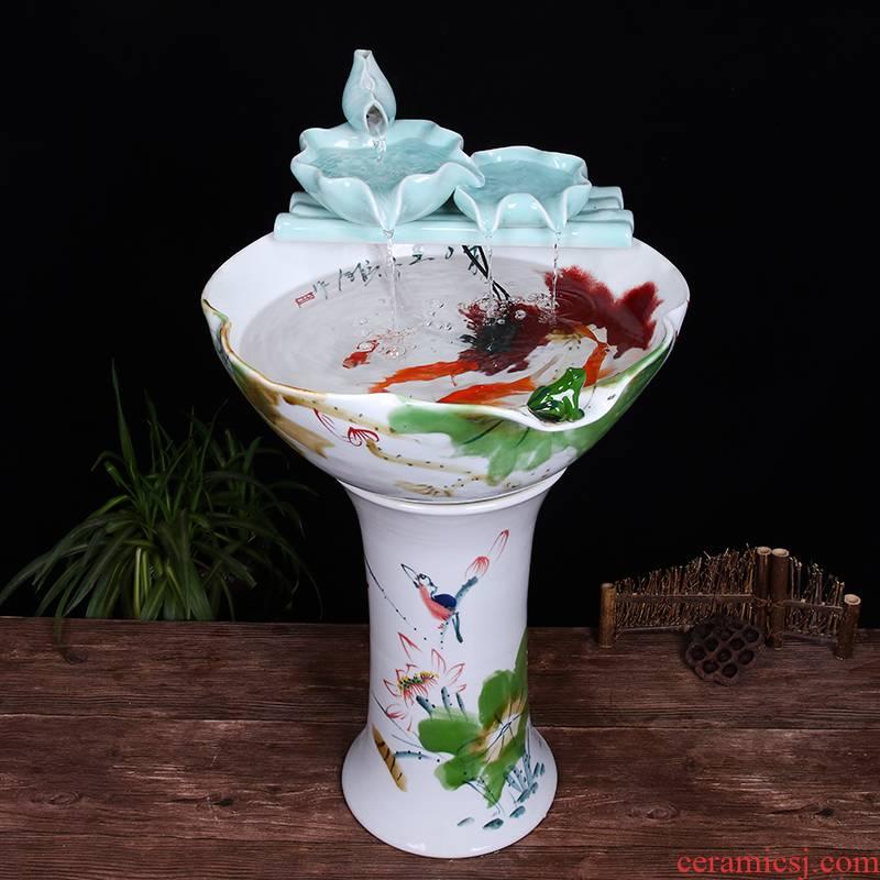 Ceramic floor pillar type tank basin large fish bowl lotus lotus lotus tortoise household gardens furnishing articles