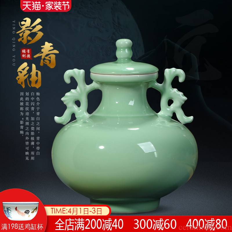 Jingdezhen ceramics imitation yongzheng ears live storage tank Chinese style restoring ancient ways is rich ancient frame sitting room adornment is placed