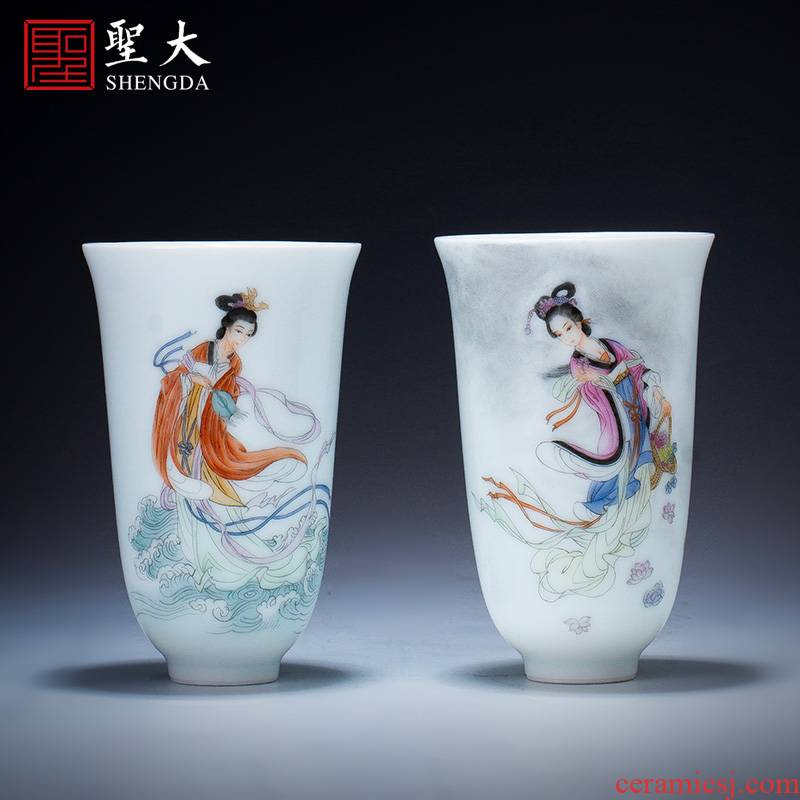 Santa teacups hand - made ceramic kung fu new colored maid gather fragrant cup master cup sample tea cup jingdezhen tea cup