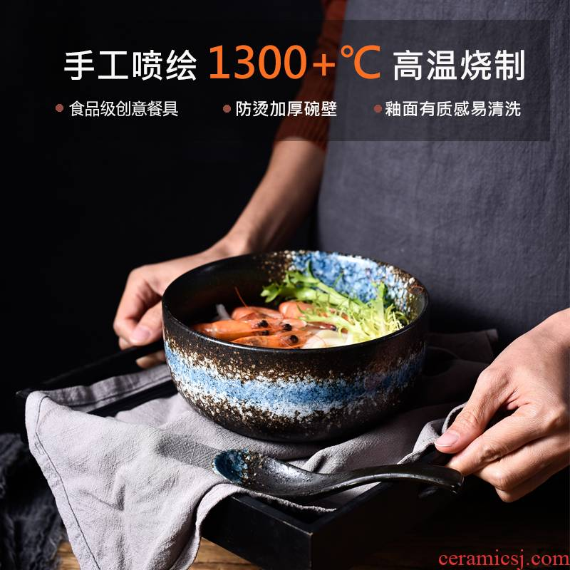 Japanese ceramic bowl with cover bowl chopsticks sets a single household noodles creative students eat bowl move dormitory tableware