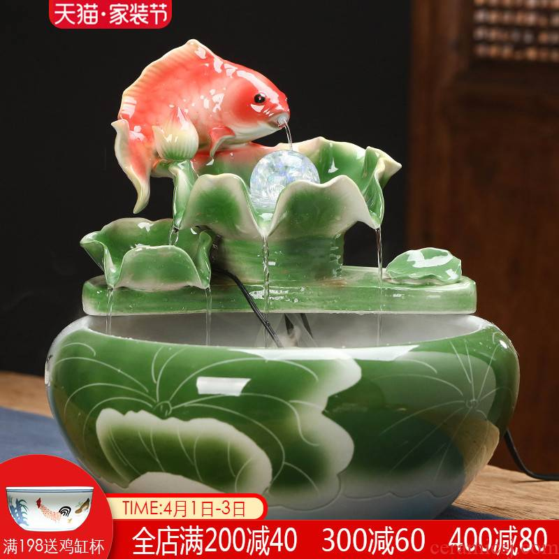 Jingdezhen ceramics water fountain atomization humidifier furnishing articles office feng shui plutus goldfish bowl the tortoise cylinder