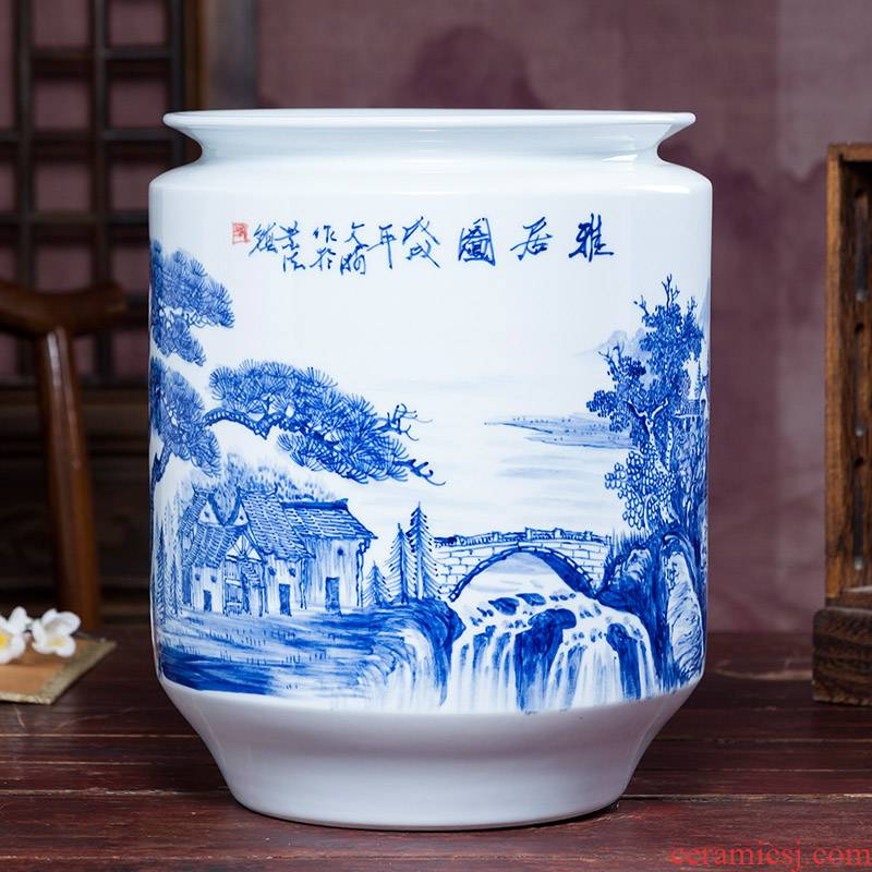 Jingdezhen blue and white ceramics hand - made vases, flower arrangement of Chinese style home furnishing articles sitting room adornment handicraft gifts