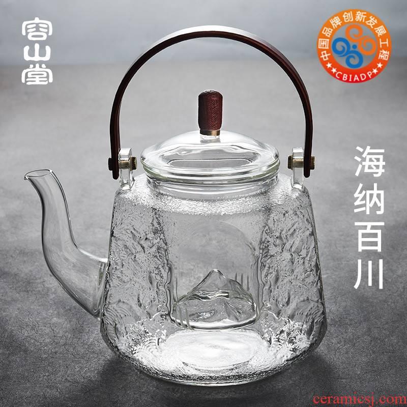 Mountains glass boiled tea machine electricity TaoLu RongShan hall large heat steaming kettle pu - erh tea teapot girder tea sets