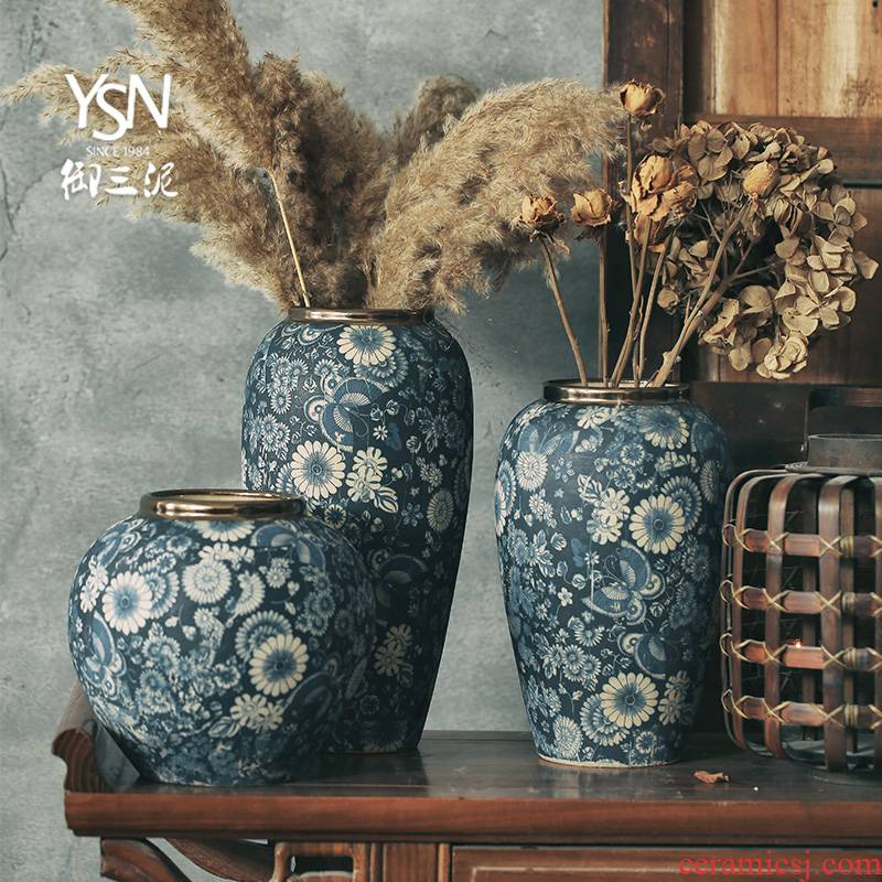 Mouths dried flowers mesa of blue and white vase continental Chinese style flower implement jingdezhen ceramic flower arranging flowers restore ancient ways furnishing articles