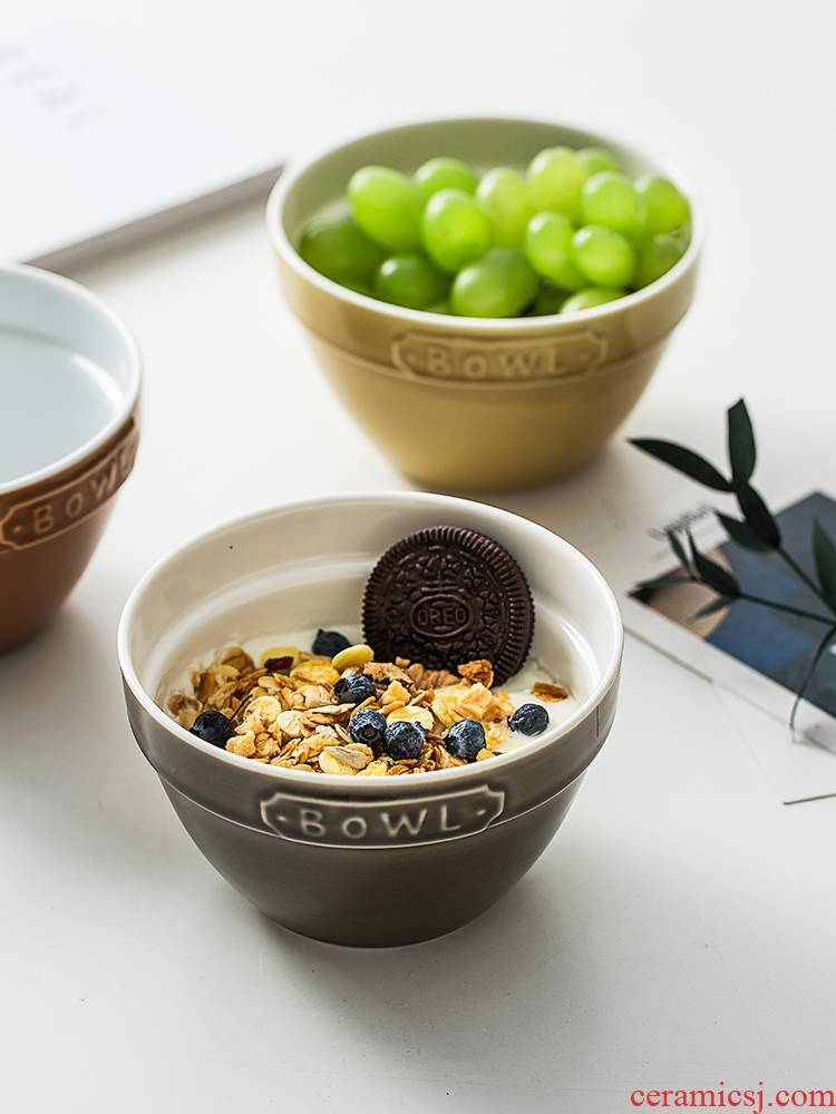 Japanese household creative ceramic bowl of oatmeal breakfast cereal to eat ice cream bowl bowl good - & baked to use of tableware