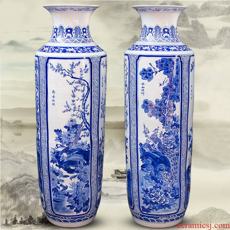 Pure hand draw large blue and white porcelain vase furnishing articles of Chinese style classical jingdezhen ceramics sitting room ground decoration decoration company