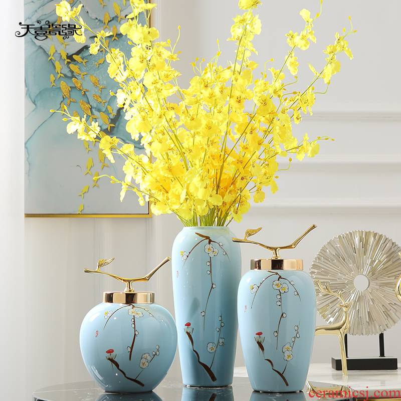 New Chinese style of jingdezhen ceramics hand - made vases, flower arranging, the sitting room porch tea table table household adornment furnishing articles