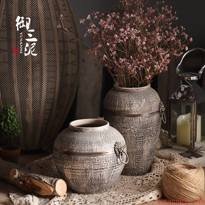 Retro ceramic dried flower simulation flower pot pottery furnishing articles of Chinese style household vase Nordic contracted sitting room put the vase