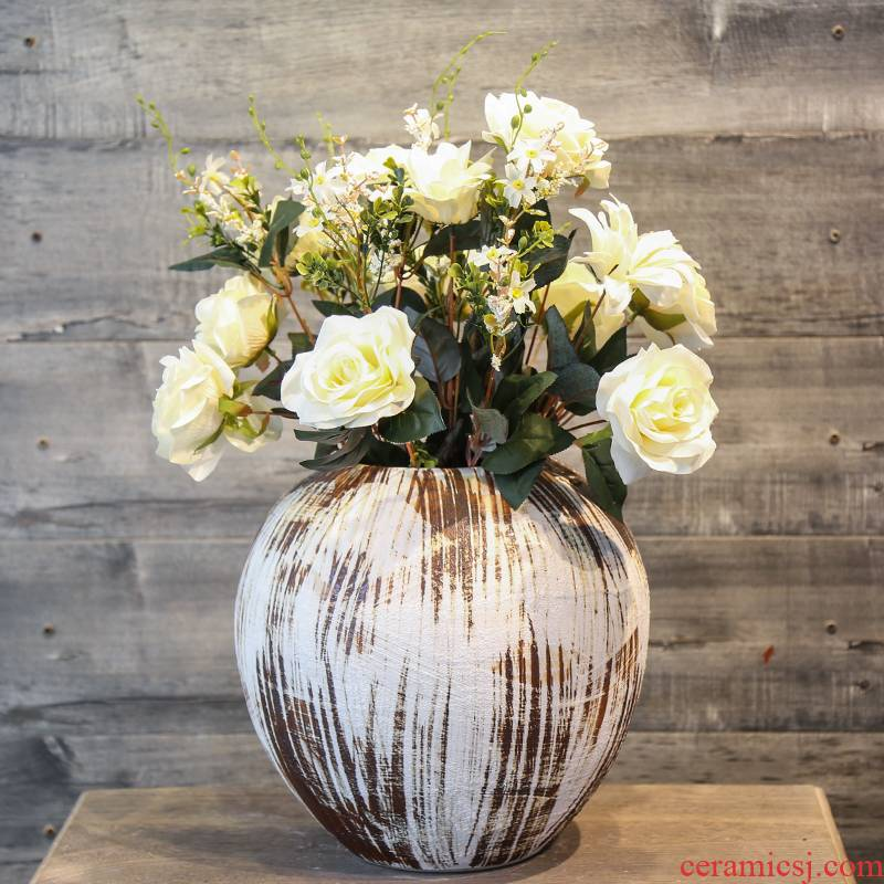 Jingdezhen ceramic flower vase retro mesa simulation flowers, artificial flowers decorate the sitting room hotel table furnishing articles