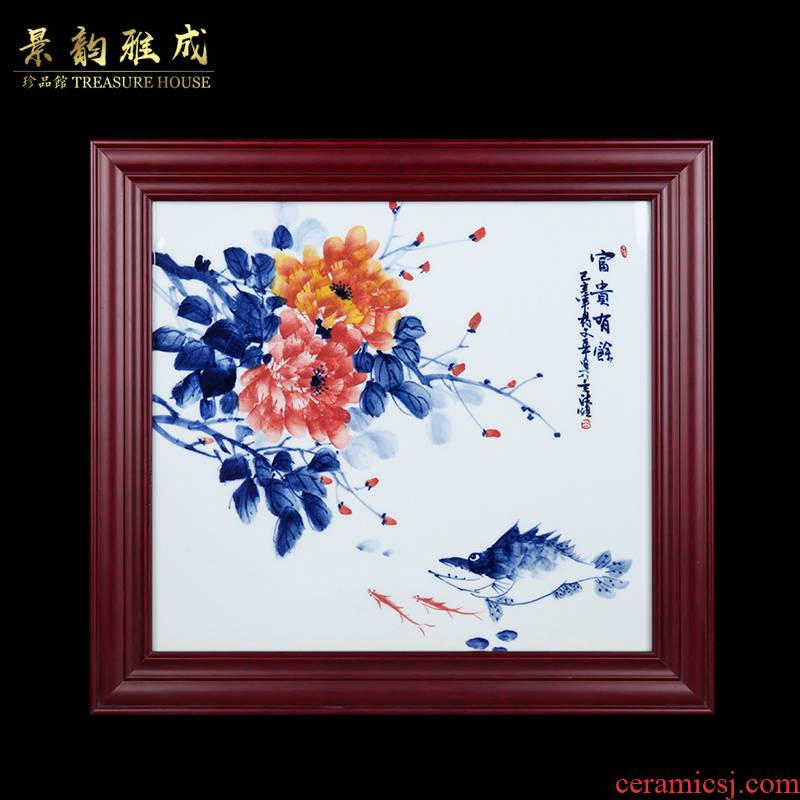 Jingdezhen ceramic hand - made riches and honour figure study of sitting room sofa setting wall adornment household porcelain plate painting that hang a picture