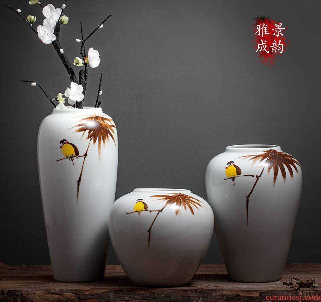 Jingdezhen ceramic home furnishing articles of new Chinese style living room table vase flower arranging flowers, decorative arts and crafts porcelain