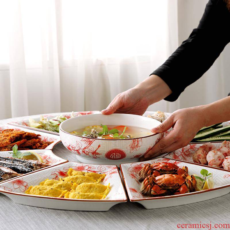 Web celebrity platter composite ceramic tableware dishes together round a table plate sector creative dishes suit household