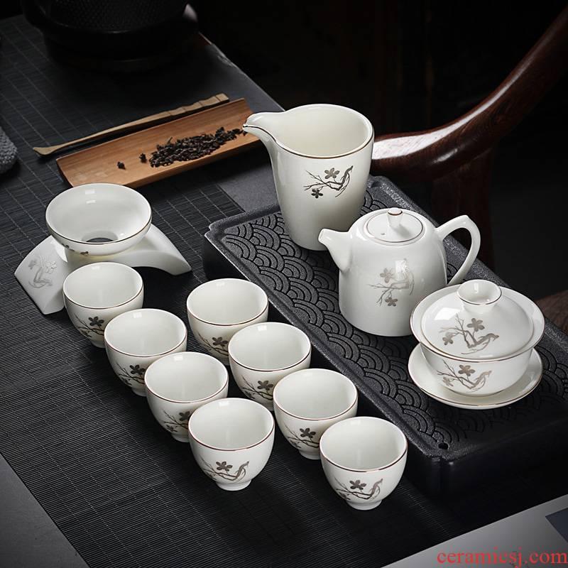 True sheng jade suet white porcelain tea kungfu tea set home a whole set of ceramic tea cup lid bowl