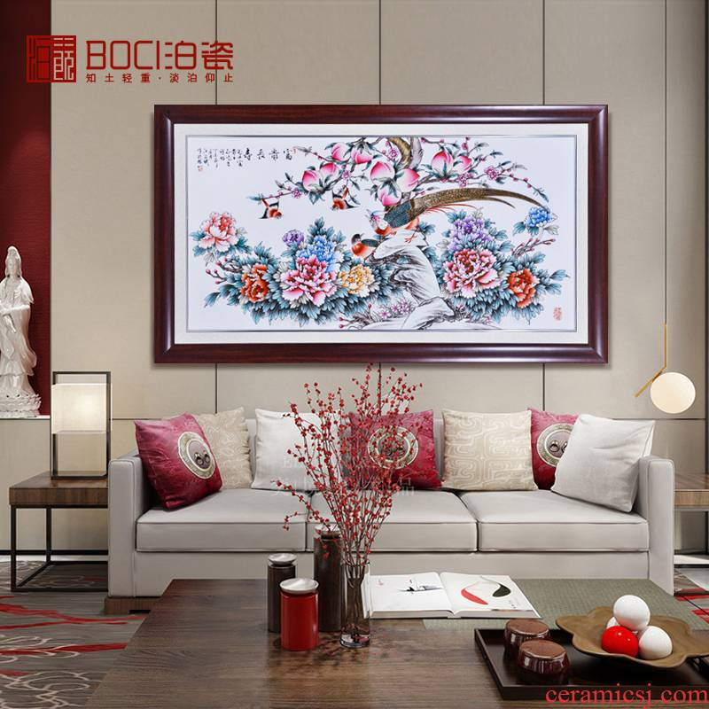 Jingdezhen ceramics hand - made wall of setting of famille rose porcelain plate paint decoration hanging decoration of Chinese style living room furnishing articles
