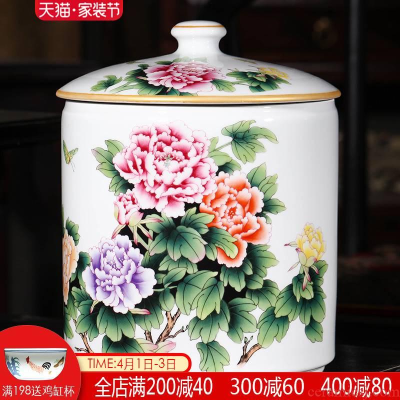 Jingdezhen caddy fixings super - large code manual sealing up bread seven pu 'er tea ware ricer box cylinder storage ceramics
