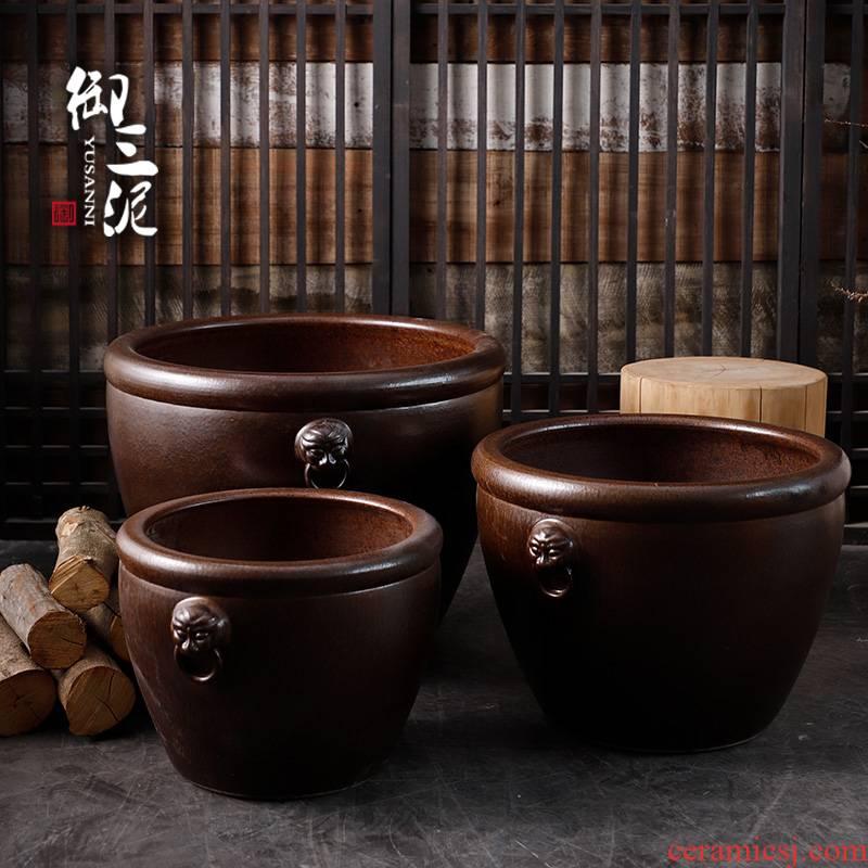 Jingdezhen ceramic Chinese mythology is big fish tank lotus floor furnishing articles courtyard garden tank big flower pot