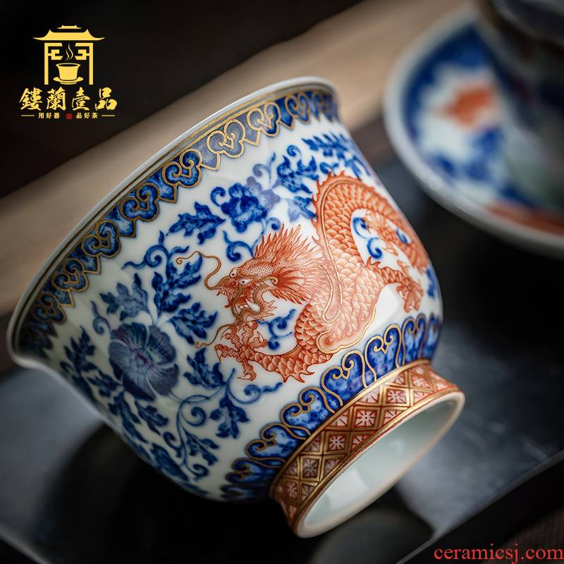 Pure manual blue tie up branch pipe sample tea cup jingdezhen ceramic dragon kung fu master cup single cup tea bowl