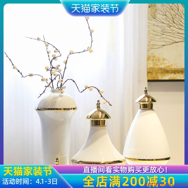 Light the key-2 luxury of new Chinese style general pot flowers furnishing articles of jingdezhen ceramic living room TV cabinet table flower implement creative vase
