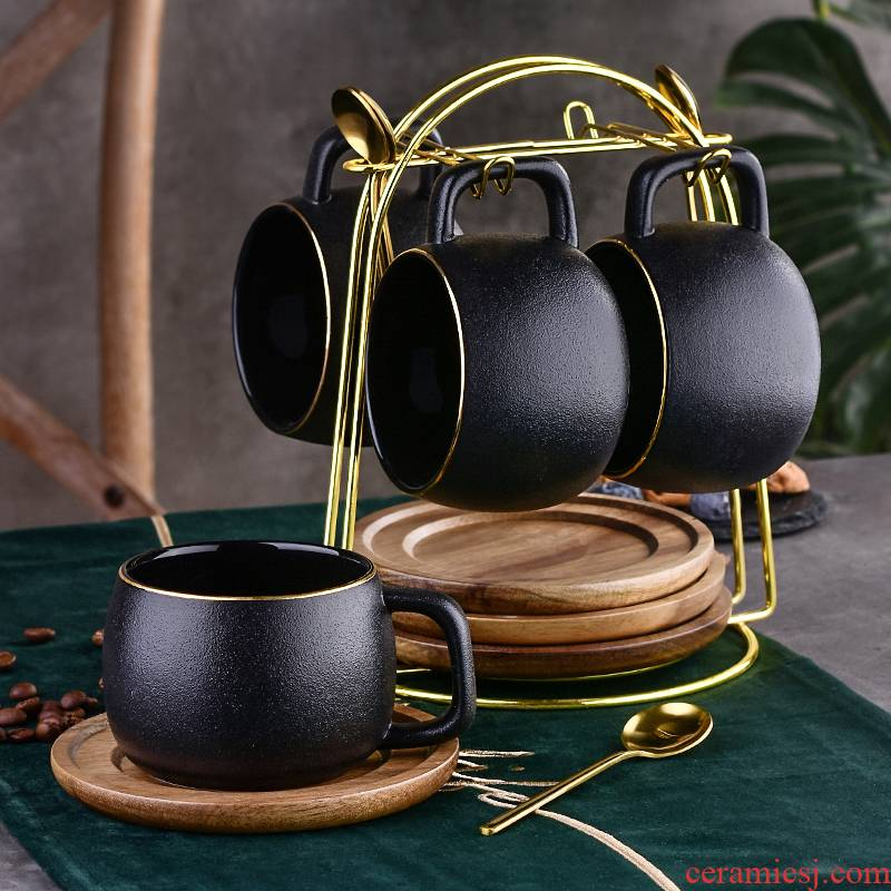 Small European - style key-2 luxury coffee cup set ceramic household afternoon tea tea grind arenaceous coffee cup with wooden hob anywhere