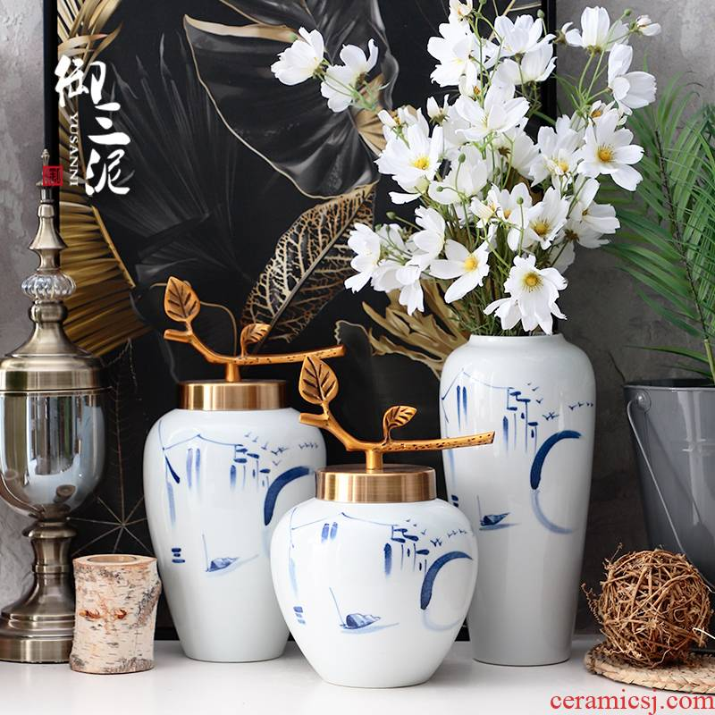 Jingdezhen ceramic dry flower vases, flower arrangement sitting room place, a new Chinese style is I and contracted table decorations household