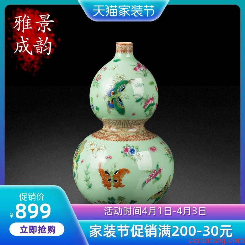 Jingdezhen ceramic pea green glaze hand - made butterfly vase decoration furnishing articles of new Chinese style household porcelain decoration in the sitting room