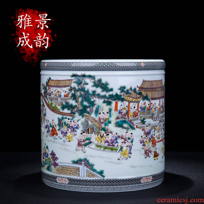 Jingdezhen ceramic hand - made the ancient philosophers figure sitting room porch decoration pen container large I and contracted household furnishing articles