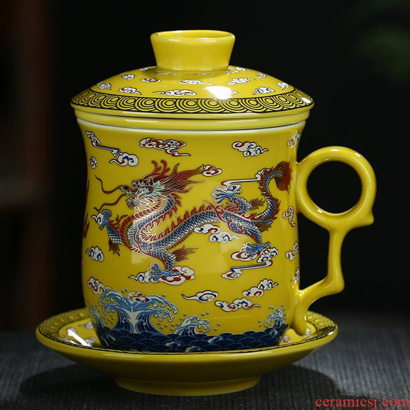 Catalpa xin jingdezhen ceramic filter cups with cover household glass tea cup office personal dragon cup