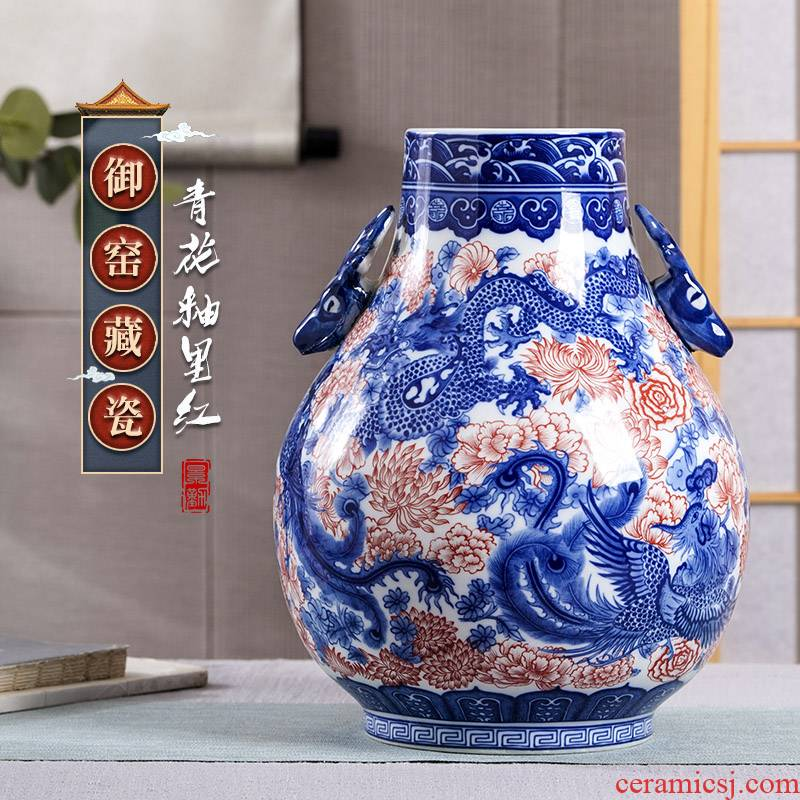 Restoring ancient ways of jingdezhen ceramic vases, youligong blue double ears to watch the sitting room porch decorate household furnishing articles