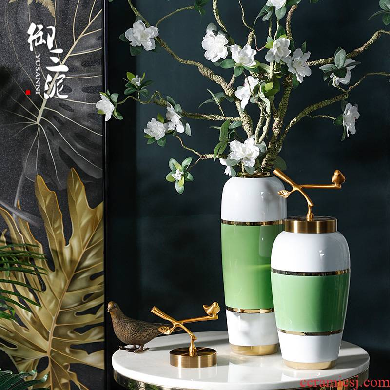 Sitting room decoration flower arranging dried flowers Nordic ceramic vase furnishing articles green belt up phnom penh contracted and I household adornment as cans