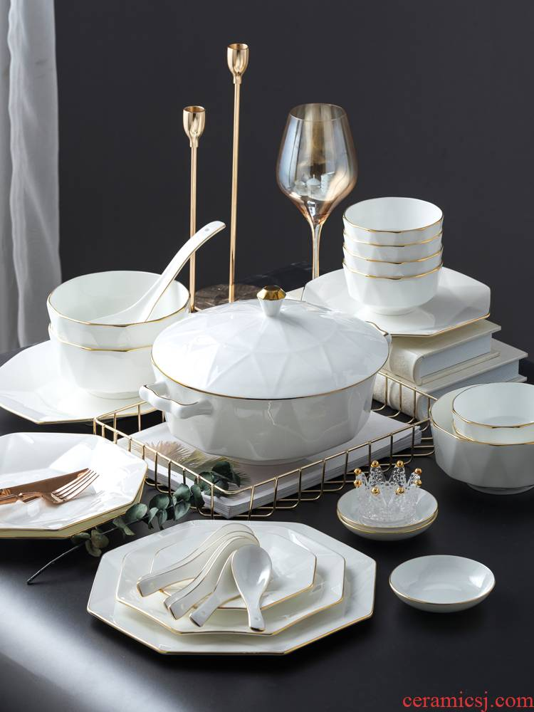 Nordic ipads bowls disc suit white contracted jingdezhen ceramic tableware light key-2 luxury up phnom penh electrical set of dishes
