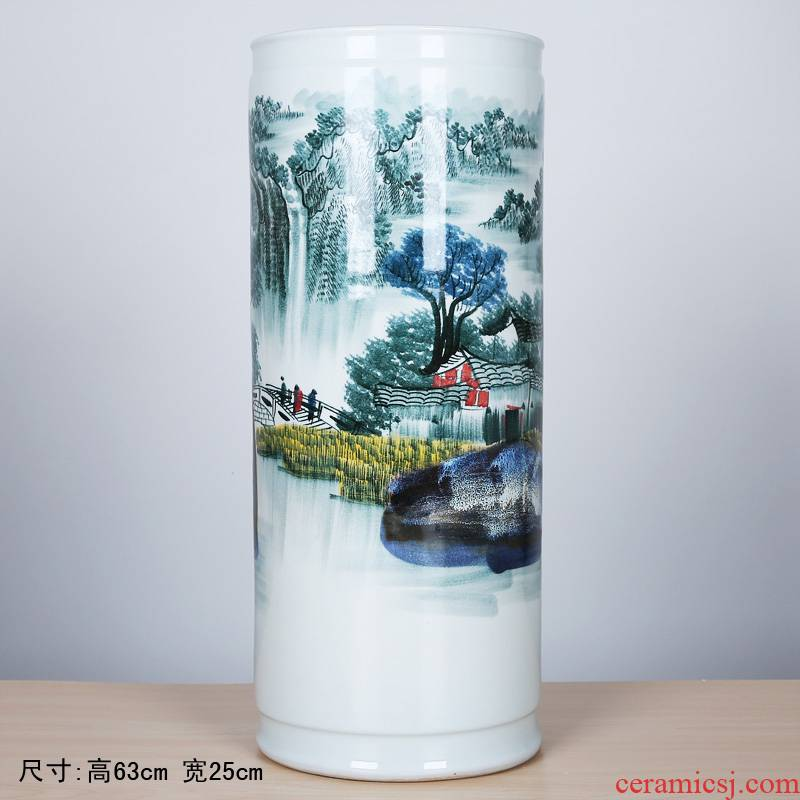 182 jingdezhen ceramic floor quiver hand - made landscape painting and calligraphy brush pot creative home furnishing articles arts and crafts