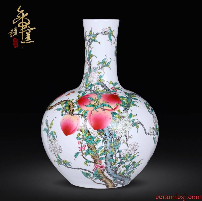 Hand draw archaize porcelain of jingdezhen ceramics heavy pastel peach peach vase nine bottles of the sitting room porch bat furnishing articles
