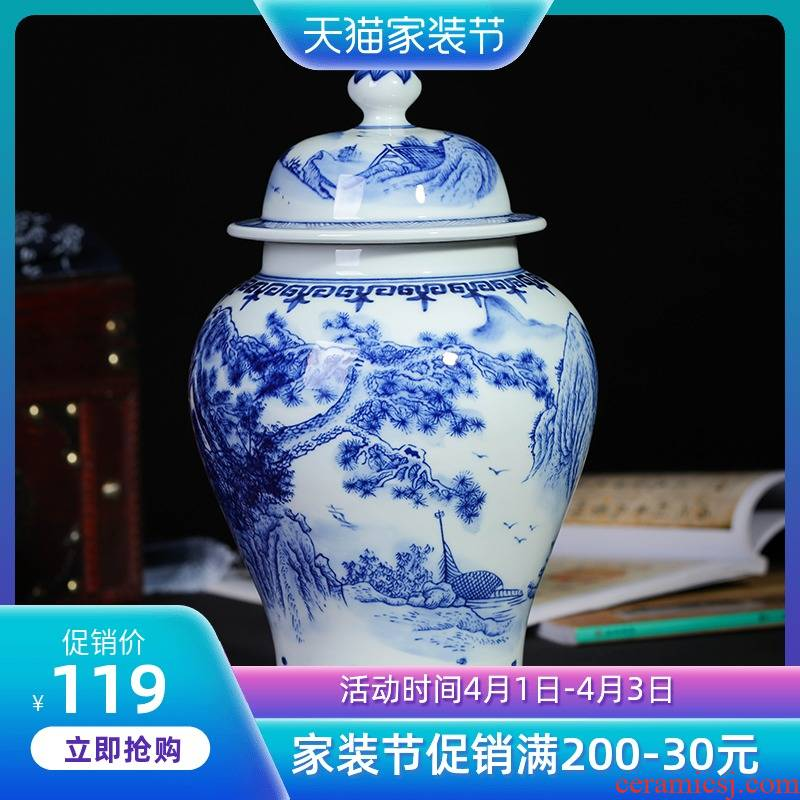 Jingdezhen ceramics modern style home furnishing articles adornment ornament blue on the modern Chinese style restoring ancient ways that occupy the home