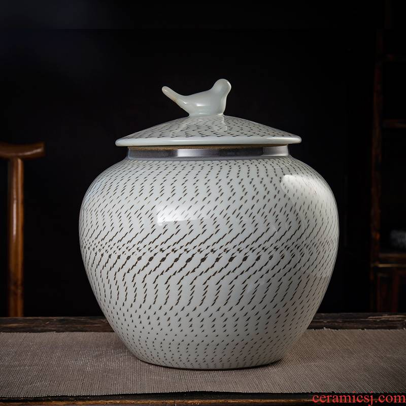 Jingdezhen ceramic tea caddy fixings large seal storage tank with show white gourd caddy fixings 3.5 kg