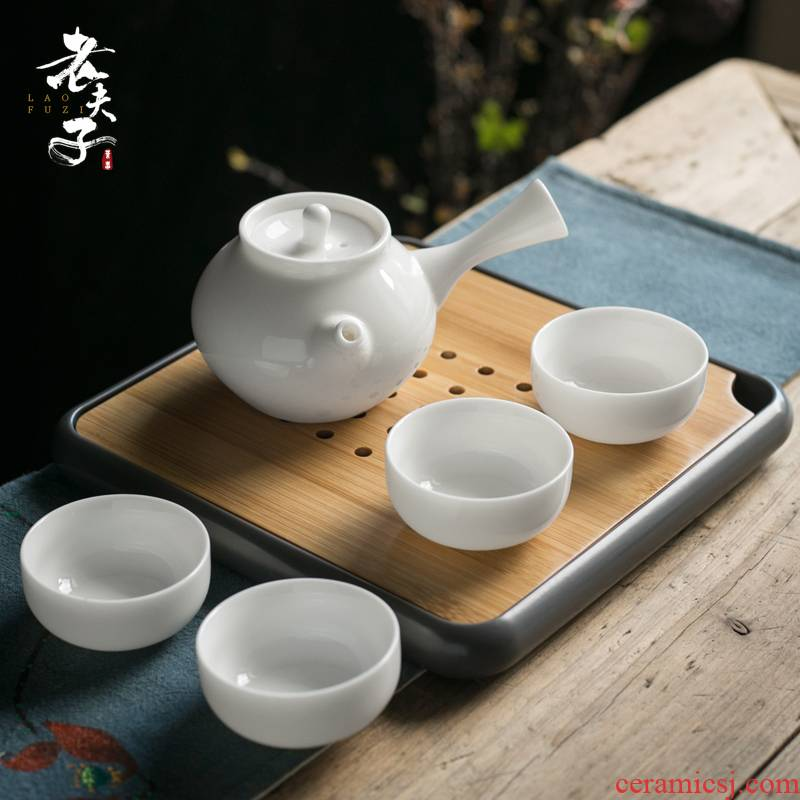 Travel white porcelain tea set a pot of four cups of portable household dry crack cup tea tray table of a complete set of on - board the teapot