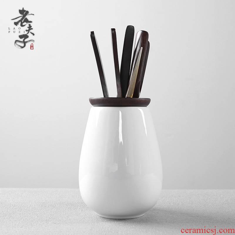 White porcelain tea six gentleman 's suit kung fu tea accessories household ebony ChaGa teaspoon of tea art combination furnishing articles