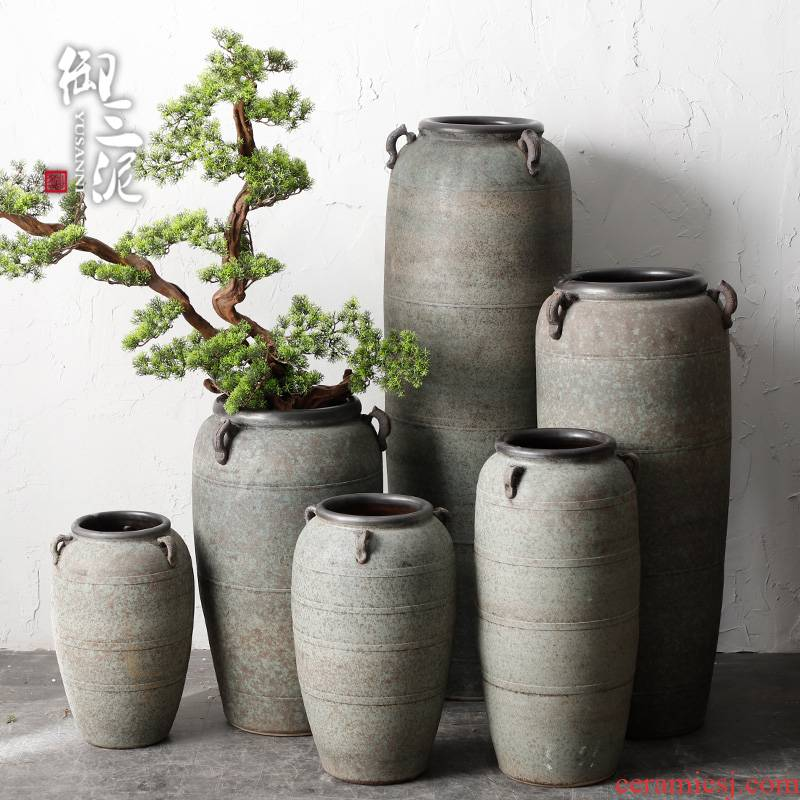 Modern pottery large - diameter zen flowerpot coarse pottery restoring ancient ways the ground dried flower adornment furnishing articles of Chinese style living room vase