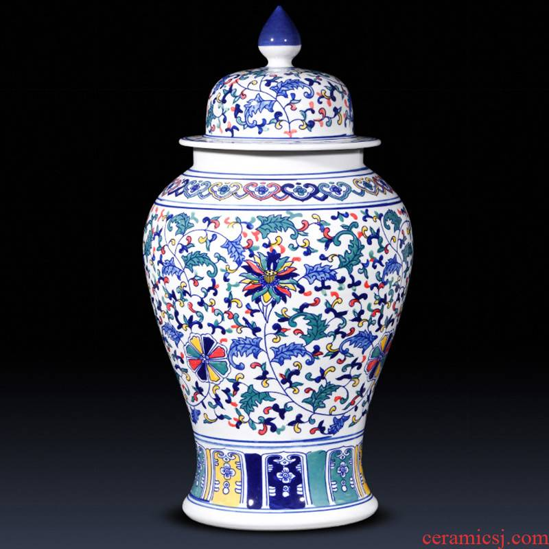 Jingdezhen ceramics craft ideas the general pot of blue and white porcelain vase furnishing articles of new Chinese style decoration large living room