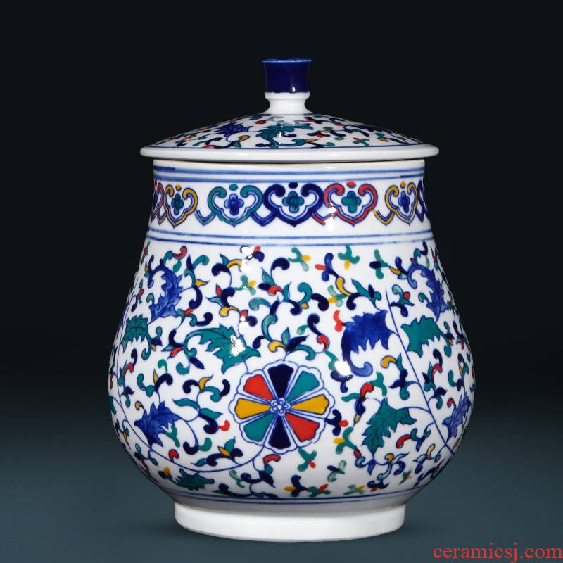 Jingdezhen ceramics craft ideas under the blue and white glaze colorful storage tank tea pot of new Chinese style living room decoration