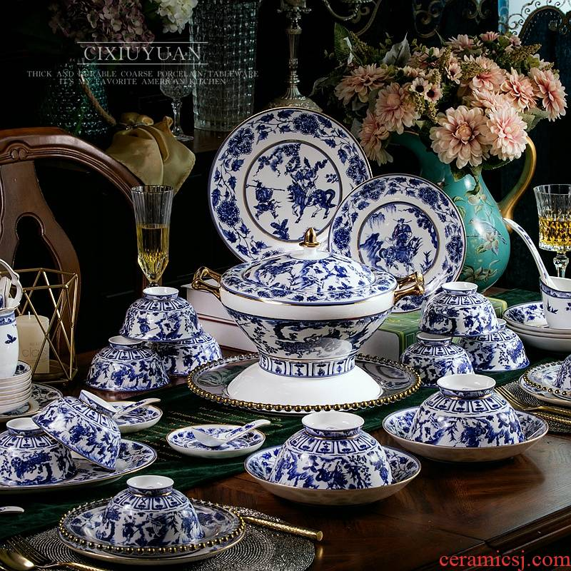 50 heads of imitation of blue and white porcelain tableware dishes sets jingdezhen restoring ancient ways is written down ipads China Chinese ceramics