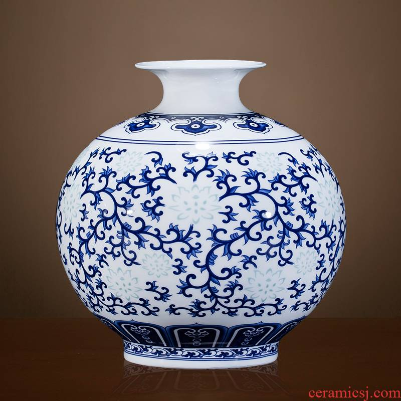 Thin foetus blue and white porcelain of jingdezhen ceramics floret bottle furnishing articles flower arranging Chinese rich ancient frame sitting room decoration