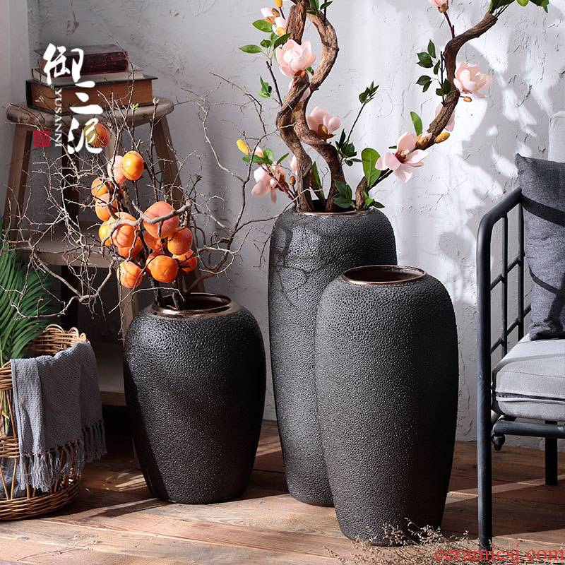 Nordic I and contracted, ceramic vases, dried flower decoration furnishing articles sitting room coarse some ceramic pot retro hydroponic flower arranging flowers