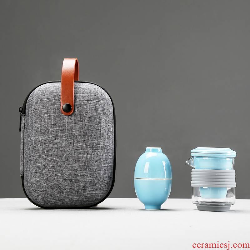 Glass crack cup portable package travel kung fu tea sets filtration separation of tea ceramic elegant Glass teapot