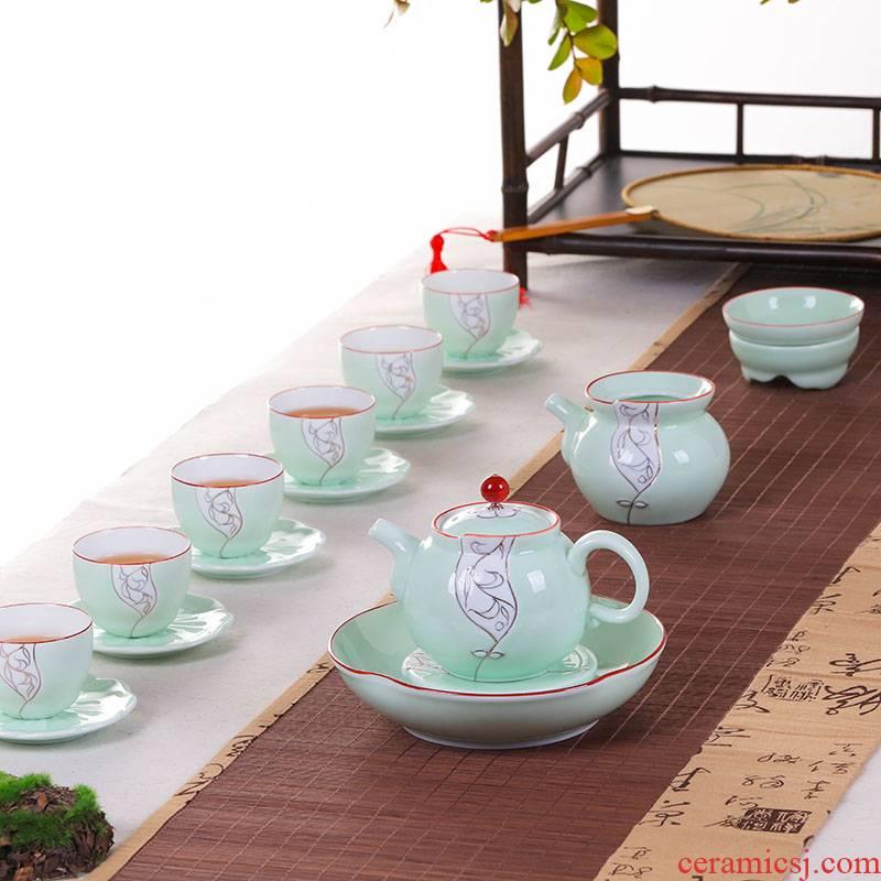 Jingdezhen tea suit household glass ceramic teapot with kung fu tea fair filter cups of a complete set of tea service