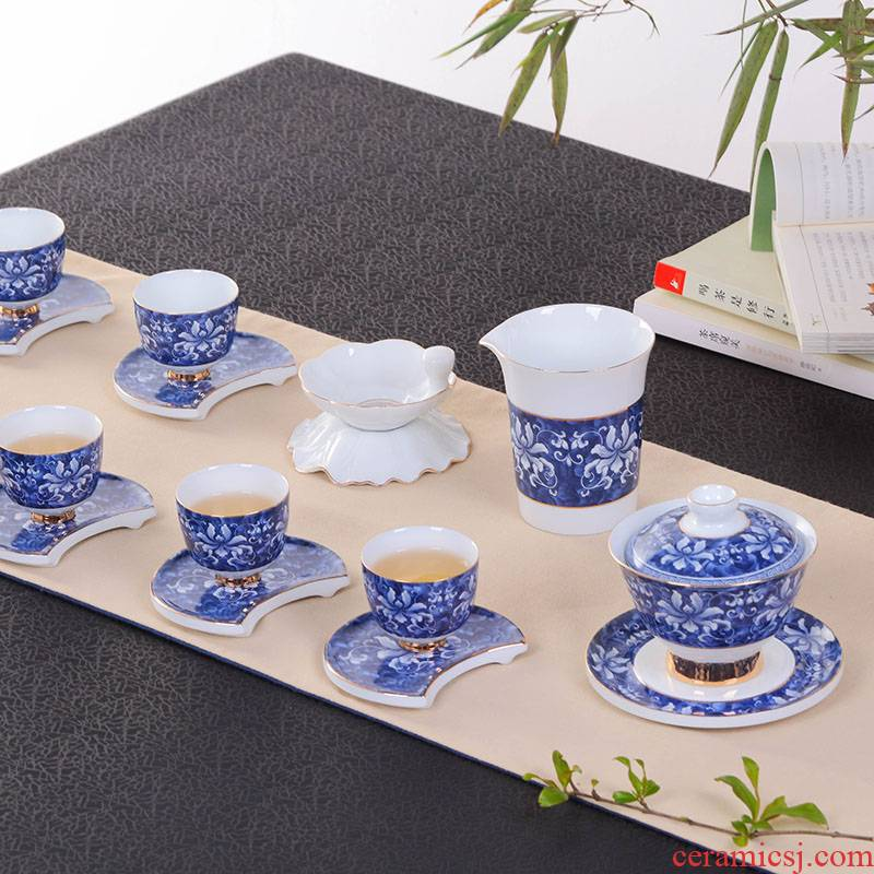 Jingdezhen kung fu tea set suit household porcelain ceramic tea cup tureen tea filter of a complete set of tea service