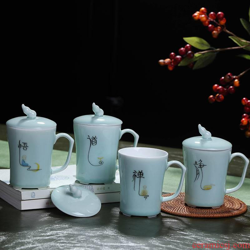 Catalpa xin jingdezhen ceramic cups with cover glass office home celadon personal mark cup 280 ml cup
